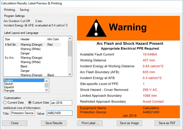 ac arc flash calculation results
